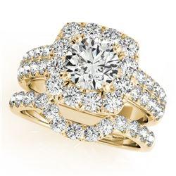 2.51 ctw Certified VS/SI Diamond 2pc Wedding Set Halo 14k Yellow Gold - REF-234G5W