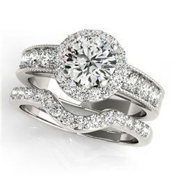 2.21 ctw Certified VS/SI Diamond 2pc Wedding Set Halo 14k White Gold - REF-340K9Y