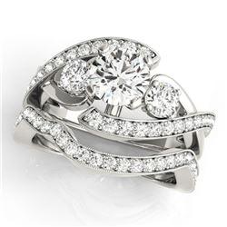 2.29 ctw Certified VS/SI Diamond Bypass 2pc Wedding Set 14k White Gold - REF-428N2F