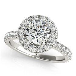 1.5 ctw Certified VS/SI Diamond Halo Ring 18k White Gold - REF-172F6M