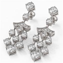5.5 ctw Cushion Cut Diamond Designer Earrings 18K White Gold - REF-722G4W