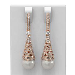 1.84 ctw Diamond & Pearl Earrings 18K Rose Gold - REF-207X8A