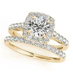 1.45 ctw Certified VS/SI Diamond 2pc Wedding Set Halo 14k Yellow Gold - REF-133R6K