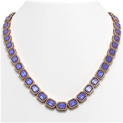 56.69 ctw Tanzanite & Diamond Micro Pave Halo Necklace 10k Rose Gold - REF-1356G4W