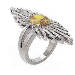 4.57 ctw Canary Citrine & Diamond Ring 18K White Gold - REF-263Y6X