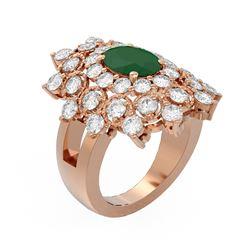 6.12 ctw Emerald & Diamond Ring 18K Rose Gold - REF-285A6N