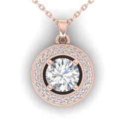 1.1 ctw Certified VS/SI Diamond Micro Stud Necklace 14k Rose Gold - REF-180G2W