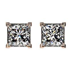 2 ctw Certified VS/SI Quality Princess Diamond Stud Earrings 10k Rose Gold - REF-478G6W