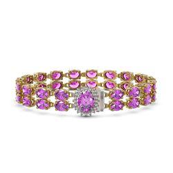 24.82 ctw Amethyst & Diamond Bracelet 14K Yellow Gold - REF-218Y2X