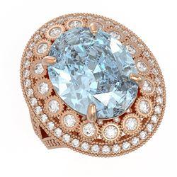 16.82 ctw Certified Sky Topaz & Diamond Victorian Ring 14K Rose Gold - REF-229X3A