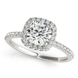 1.25 ctw Certified VS/SI Diamond Halo Ring 18k White Gold - REF-276M8G