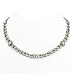 29.42 ctw Opal & Diamond Necklace 14K White Gold - REF-527M3G