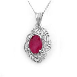 3.87 ctw Ruby & Diamond Pendant 18k White Gold - REF-90A9N
