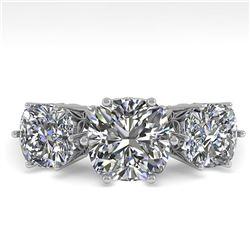 2.0 ctw Past Present Future VS/SI Cushion Diamond Ring 18k White Gold - REF-435M2G