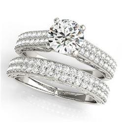 2.5 ctw Certified VS/SI Diamond 2pc Wedding Set Antique 14k White Gold - REF-535W8H