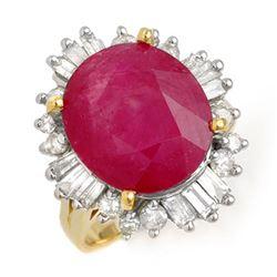 9.68 ctw Ruby & Diamond Ring 14k Yellow Gold - REF-123R5K