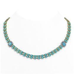 37.66 ctw Swiss Topaz & Diamond Necklace 14K Yellow Gold - REF-436K4Y