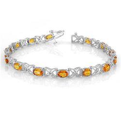 10.15 ctw Yellow Sapphire & Diamond Bracelet 18k White Gold - REF-163N6F