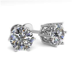 2.0 ctw Certified VS/SI Diamond Stud Earrings 18k White Gold - REF-539R4K