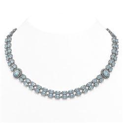 65.29 ctw Sky Topaz & Diamond Necklace 14K White Gold - REF-581R8K