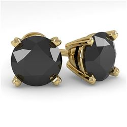 3.0 ctw Black Diamond Stud Designer Earrings 14k Yellow Gold - REF-56H2R