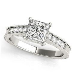 1.2 ctw Certified VS/SI Princess Diamond Antique Ring 18k White Gold - REF-316X8A