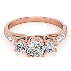 3.25 ctw Certified VS/SI Diamond 3 Stone Bridal Ring 18K Rose Gold - REF-848W9H
