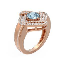 3.12 ctw Aquamarine & Diamond Ring 18K Rose Gold - REF-175F3M