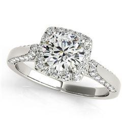 1.35 ctw Certified VS/SI Diamond Halo Ring 18k White Gold - REF-167H8R