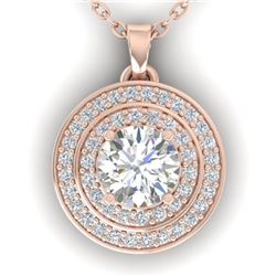0.9 ctw Certified VS/SI Diamond Art Deco Halo Necklace 14k Rose Gold - REF-116Y4X