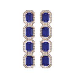 12.33 ctw Sapphire & Diamond Micro Pave Halo Earrings 10k Rose Gold - REF-163M6G