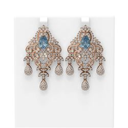 12.96 ctw Blue Topaz & Diamond Earrings 18K Rose Gold - REF-674K9Y