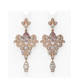 10.1 ctw Morganite & Diamond Earrings 18K Rose Gold - REF-707N3F