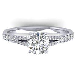 1.36 ctw Certified VS/SI Diamond Art Deco Ring 14k White Gold - REF-309N2F