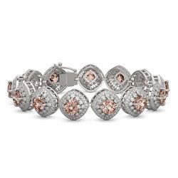 31.35 ctw Morganite & Diamond Victorian Bracelet 14K White Gold - REF-1063M3G