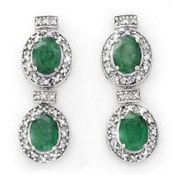 5.75 ctw Emerald & Diamond Earrings 14k White Gold - REF-136G4W