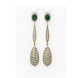 6.68 ctw Emerald & Diamond Earrings 18K Yellow Gold - REF-342R2K