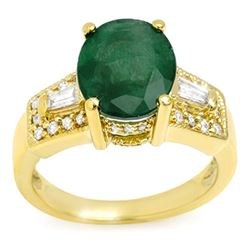 4.55 ctw Emerald & Diamond Ring 10k Yellow Gold - REF-94R9K
