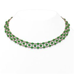 63.65 ctw Jade & Diamond Necklace 10K Rose Gold - REF-527M3G