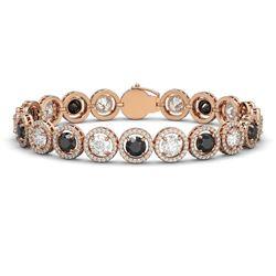15.47 ctw Black & Diamond Micro Pave Bracelet 18K Rose Gold - REF-1171K4Y