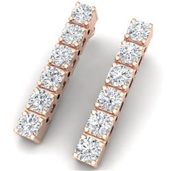 6 ctw Certified SI Diamond Earrings 18K Rose Gold - REF-660A2N