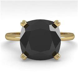 6.0 ctw Cushion Black Diamond Engagment Designer Ring 18k Yellow Gold - REF-133M8G