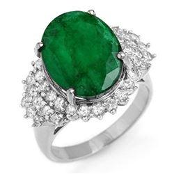 7.56 ctw Emerald & Diamond Ring 18k White Gold - REF-162M9G