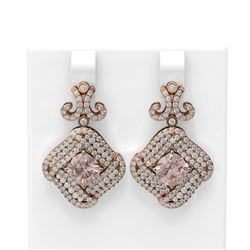 6.71 ctw Morganite & Diamond Earrings 18K Rose Gold - REF-320H8R