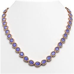 40.53 ctw Tanzanite & Diamond Micro Pave Halo Necklace 10k Rose Gold - REF-845A8N
