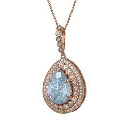 17.62 ctw Sky Topaz & Diamond Victorian Necklace 14K Rose Gold - REF-231M3G