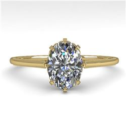 1.0 ctw VS/SI Oval Diamond Engagment Ring 18k Yellow Gold - REF-315H2R