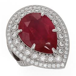 16.29 ctw Certified Ruby & Diamond Victorian Ring 14K White Gold - REF-345Y5X