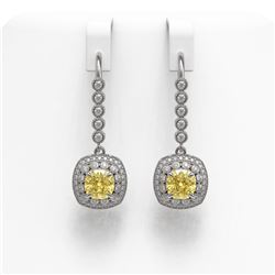 4.1 ctw Canary Citrine & Diamond Victorian Earrings 14K White Gold - REF-124W4H