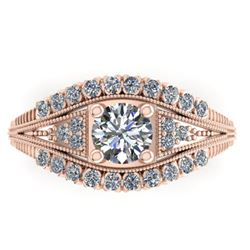 1.50 ctw Solitaire VS/SI Diamond Ring Art Deco 14k Rose Gold - REF-232G2W